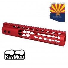 """10"""" AIR LITE KEYMOD FREE FLOATING HANDGUARD WITH MONOLITHIC TOP RAIL (RED)"""