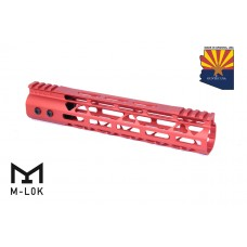 """10"""" MOD LITE SKELETONIZED SERIES M-LOK FREE FLOATING HANDGUARD WITH MONOLITHIC TOP RAIL (RED)"""