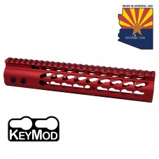"""10"""" ULTRA LIGHTWEIGHT THIN KEY MOD FREE FLOATING HANDGUARD WITH MONOLITHIC TOP RAIL ( RED)"""