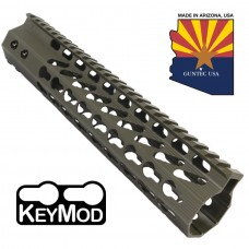 """10"""" ULTRA SLIMLINE OCTAGONAL 5 SIDED KEY MOD FREE FLOATING HANDGUARD WITH MONOLITHIC TOP RAIL(O.D. GREEN)"""