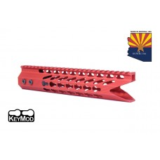 """10"""" ULTRA SLIMLINE OCTAGONAL 5 SIDED KEY MOD FREE FLOATING HANDGUARD WITH """"SHARK MOUTH"""" CUT (RED)"""
