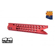 """11.5"""" ULTRA SLIMLINE OCTAGONAL 5 SIDED KEY MOD FREE FLOATING HANDGUARD WITH """"SHARK MOUTH"""" CUT (RED)"""