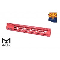 """12"""" MOD LITE SKELETONIZED SERIES M-LOK FREE FLOATING HANDGUARD WITH MONOLITHIC TOP RAIL (RED)"""
