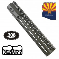 """12"""" ULTRA LIGHTWEIGHT THIN KEY MOD FREE FLOATING HANDGUARD WITH MONOLITHIC TOP RAIL (.308 CAL)(O.D. GREEN)"""