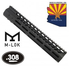 """12"""" ULTRA LIGHTWEIGHT THIN M-LOK SYSTEM FREE FLOATING HANDGUARD WITH MONOLITHIC TOP RAIL (.308 CAL)"""