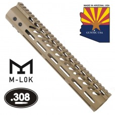 """12"""" ULTRA LIGHTWEIGHT THIN M-LOK SYSTEM FREE FLOATING HANDGUARD WITH MONOLITHIC TOP RAIL (.308 CAL)(FLAT DARK EARTH)"""