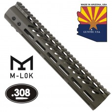 """12"""" ULTRA LIGHTWEIGHT THIN M-LOK SYSTEM FREE FLOATING HANDGUARD WITH MONOLITHIC TOP RAIL (.308 CAL)(O.D. GREEN)"""