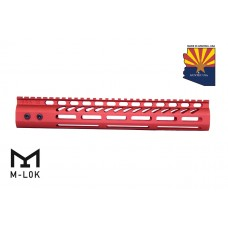 """12"""" ULTRA LIGHTWEIGHT THIN M-LOK SYSTEM FREE FLOATING HANDGUARD WITH MONOLITHIC TOP RAIL (RED)"""