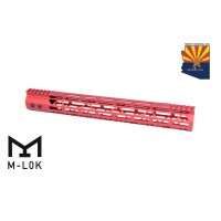 """15"""" MOD LITE SKELETONIZED SERIES M-LOK FREE FLOATING HANDGUARD WITH MONOLITHIC TOP RAIL (RED)"""