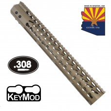 "15"" ULTRA LIGHTWEIGHT THIN KEY MOD FREE FLOATING HANDGUARD WITH MONOLITHIC TOP RAIL (.308 CAL) (FLAT DARK EARTH)"