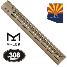"""15"""" ULTRA LIGHTWEIGHT THIN M-LOK SYSTEM FREE FLOATING HANDGUARD WITH MONOLITHIC TOP RAIL (.308 CAL)(FLAT DARK EARTH)"""