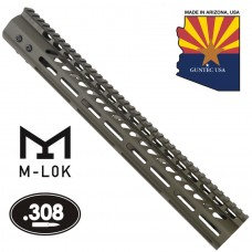 """15"""" ULTRA LIGHTWEIGHT THIN M-LOK SYSTEM FREE FLOATING HANDGUARD WITH MONOLITHIC TOP RAIL (.308 CAL)(O.D. GREEN)"""