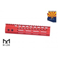 """9"""" ULTRA SLIMLINE OCTAGONAL 5 SIDED M-LOK FREE FLOATING HANDGUARD WITH MONOLITHIC TOP RAIL (RED)"""